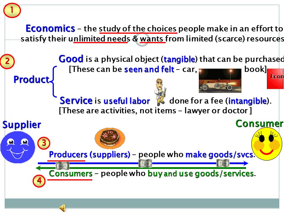 1 . Economics – the study of the choices people make in an effort to. satisfy their unlimited needs & wants from limited (scarce) resources.