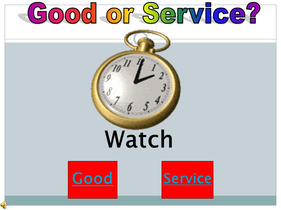 Good or Service Watch Good Service