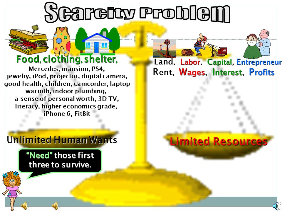 Scarcity Problem Limited Resources Food, clothing, shelter,