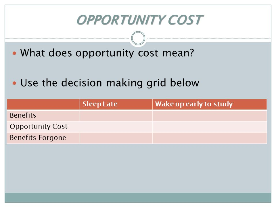 OPPORTUNITY COST What does opportunity cost mean