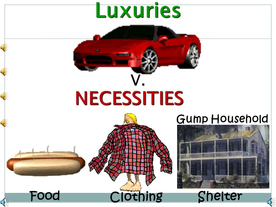 Luxuries V. NECESSITIES Gump Household Food Clothing Shelter