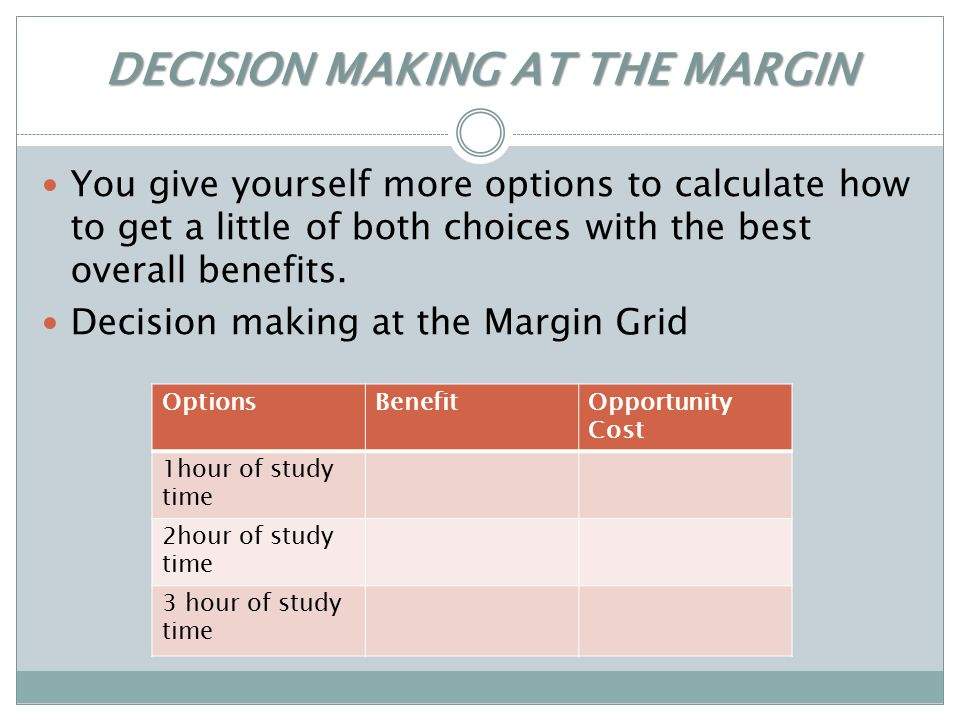 DECISION MAKING AT THE MARGIN