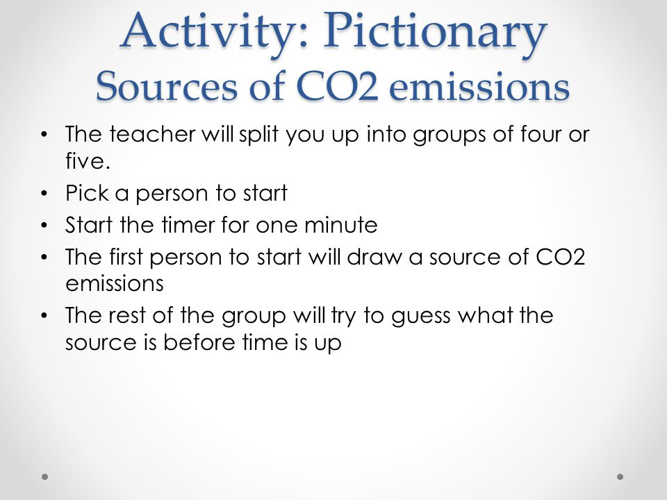Activity: Pictionary Sources of CO2 emissions