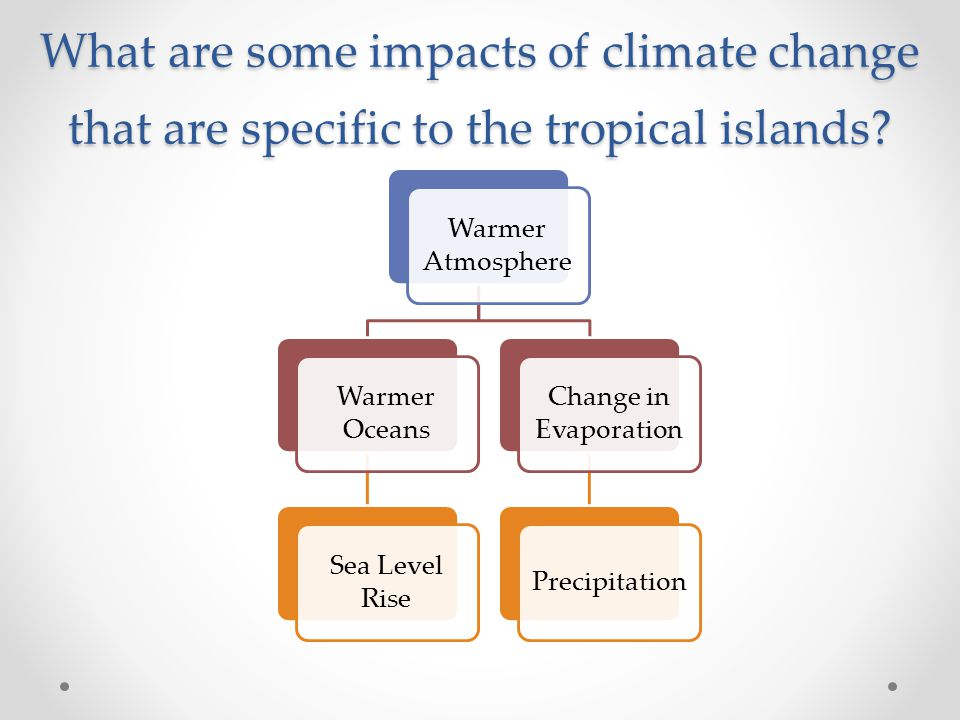 What are some impacts of climate change that are specific to the tropical islands