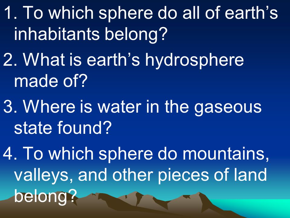 1. To which sphere do all of earth's inhabitants belong. 2