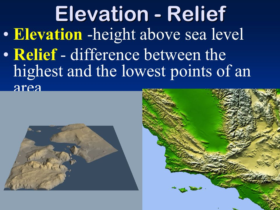 Elevation - Relief Elevation -height above sea level