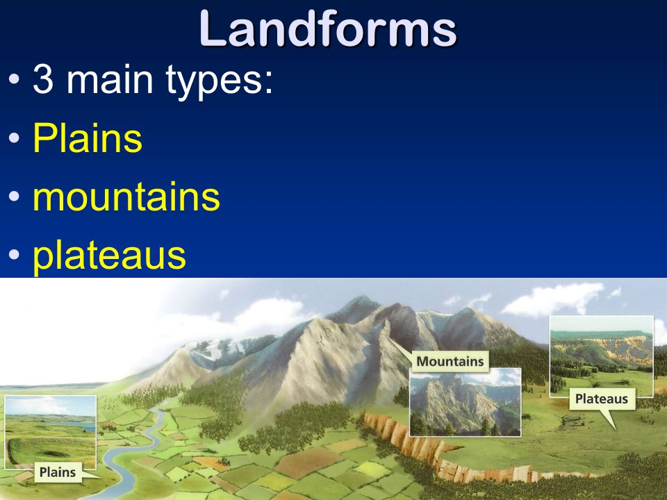Landforms 3 main types: Plains mountains plateaus