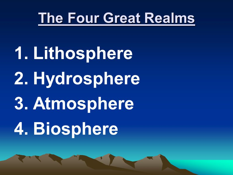 The Four Great Realms Lithosphere Hydrosphere Atmosphere Biosphere