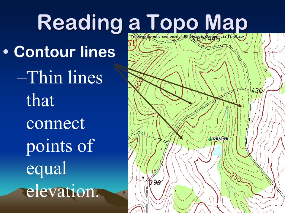 Reading a Topo Map Thin lines that connect points of equal elevation.