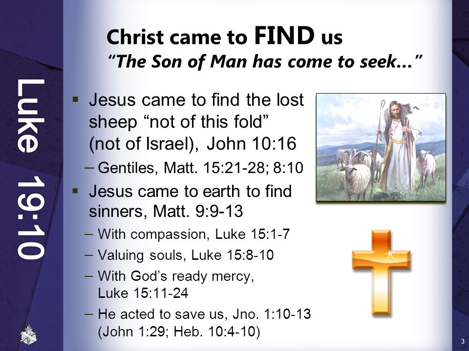 Christ came to FIND us The Son of Man has come to seek…