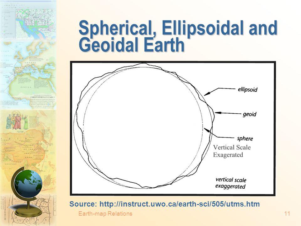 Spherical, Ellipsoidal and Geoidal Earth