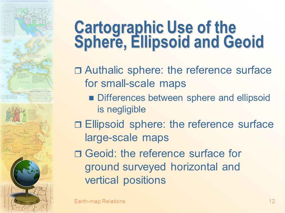 Cartographic Use of the Sphere, Ellipsoid and Geoid