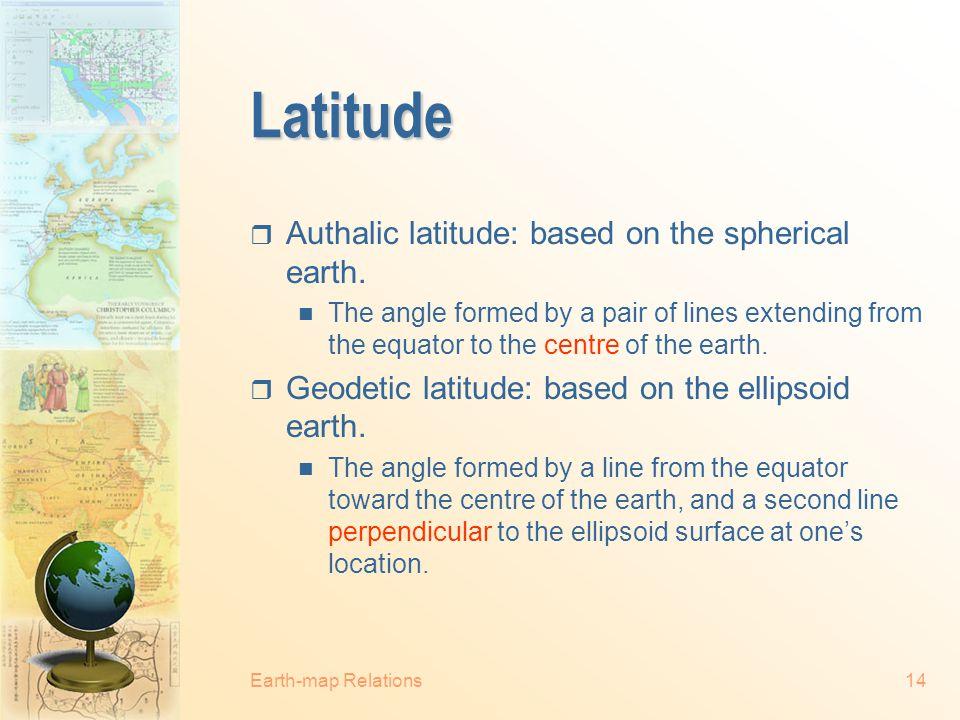 Latitude Authalic latitude: based on the spherical earth.