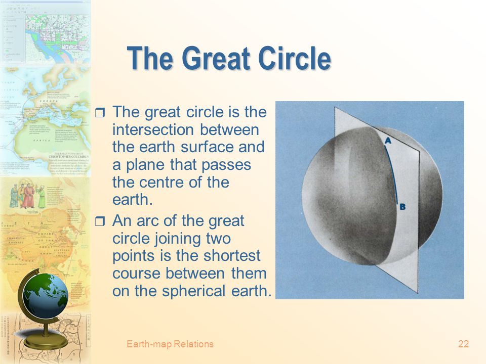 The Great Circle The great circle is the intersection between the earth surface and a plane that passes the centre of the earth.