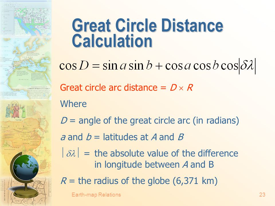 Great Circle Distance Calculation