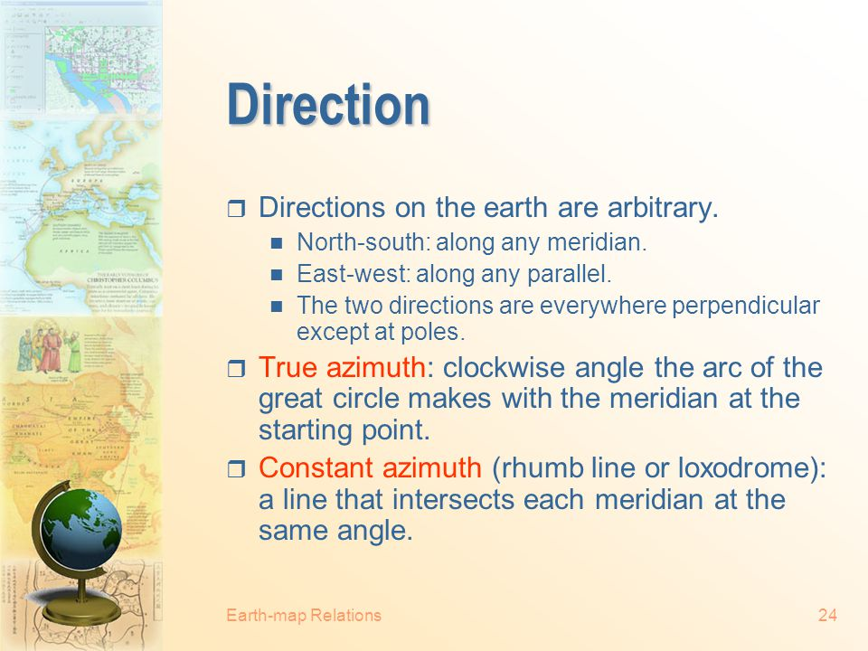 Direction Directions on the earth are arbitrary.