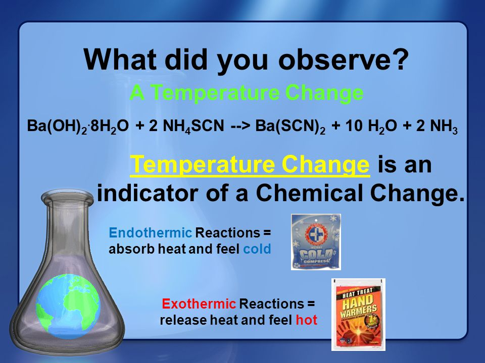 What did you observe A Temperature Change. Ba(OH)2.8H2O + 2 NH4SCN --> Ba(SCN)2 + 10 H2O + 2 NH3.