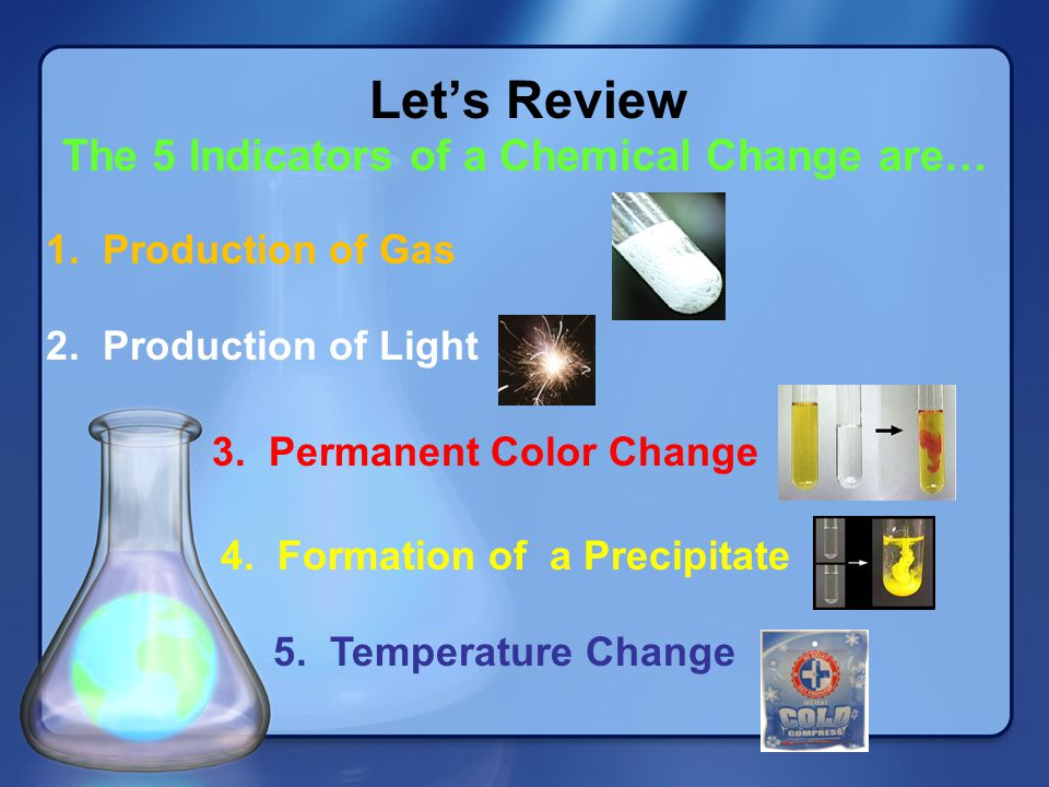 The 5 Indicators of a Chemical Change are…