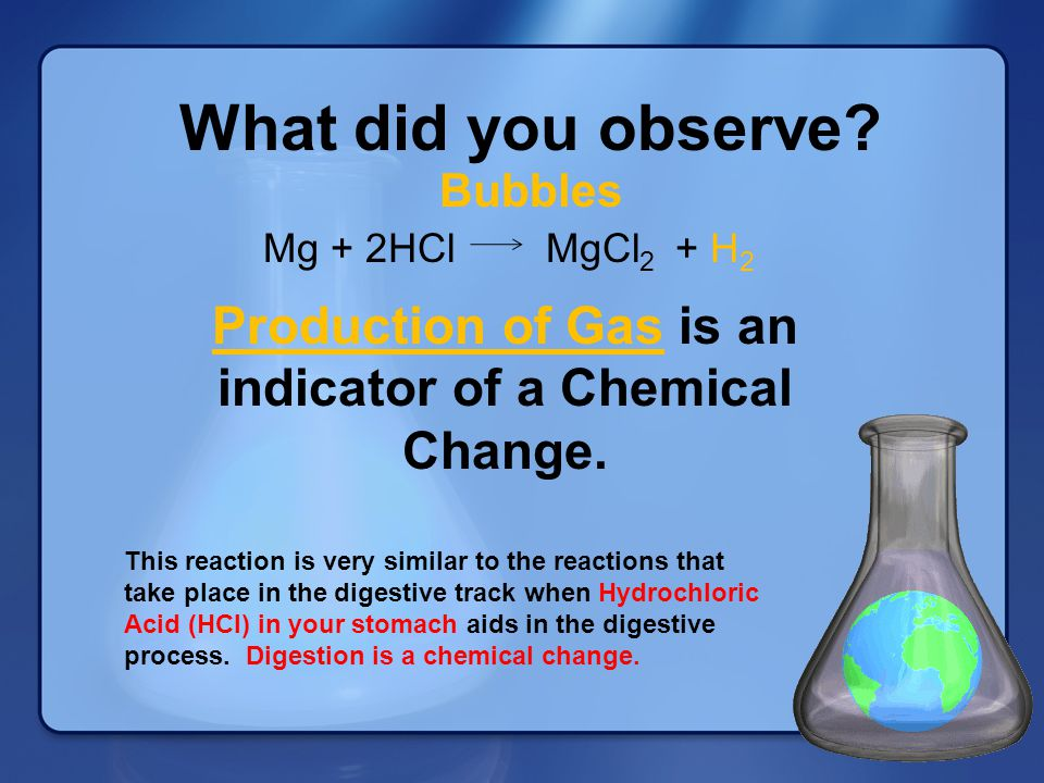 Production of Gas is an indicator of a Chemical Change.