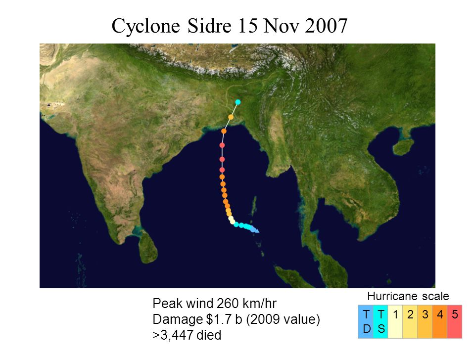 Cyclone Sidre 15 Nov 2007 Peak wind 260 km/hr