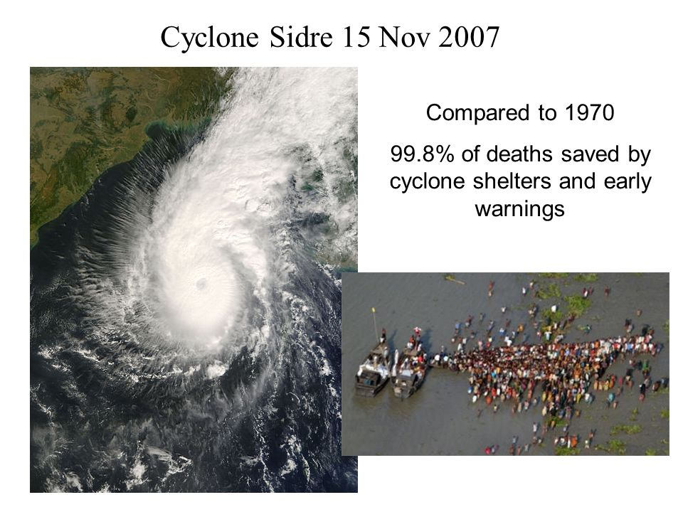 99.8% of deaths saved by cyclone shelters and early warnings