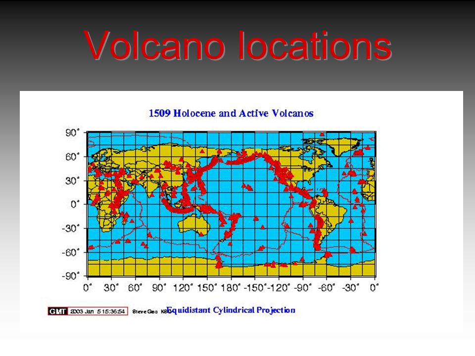 Volcano locations