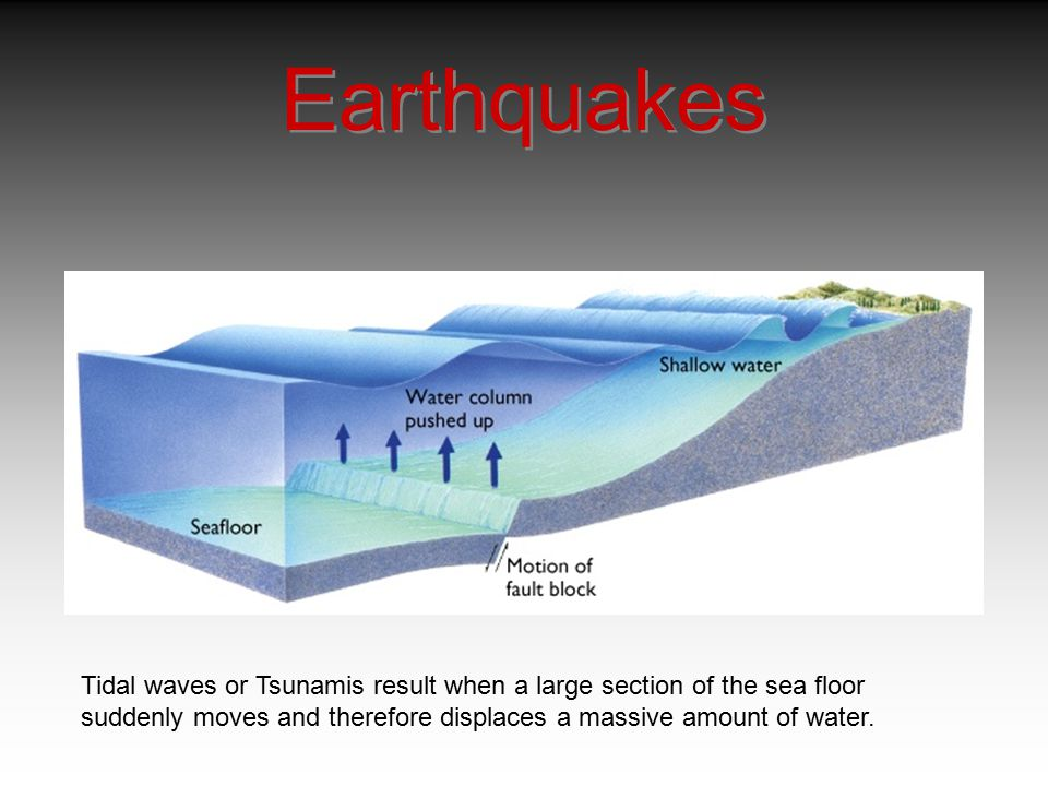 Earthquakes Tidal waves or Tsunamis result when a large section of the sea floor.
