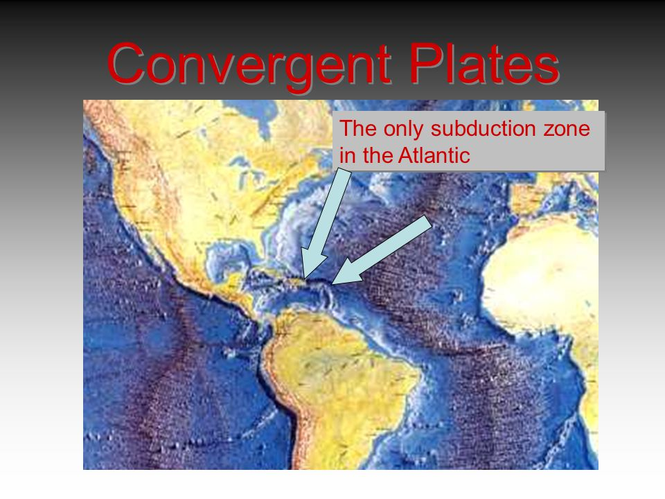 Convergent Plates The only subduction zone in the Atlantic