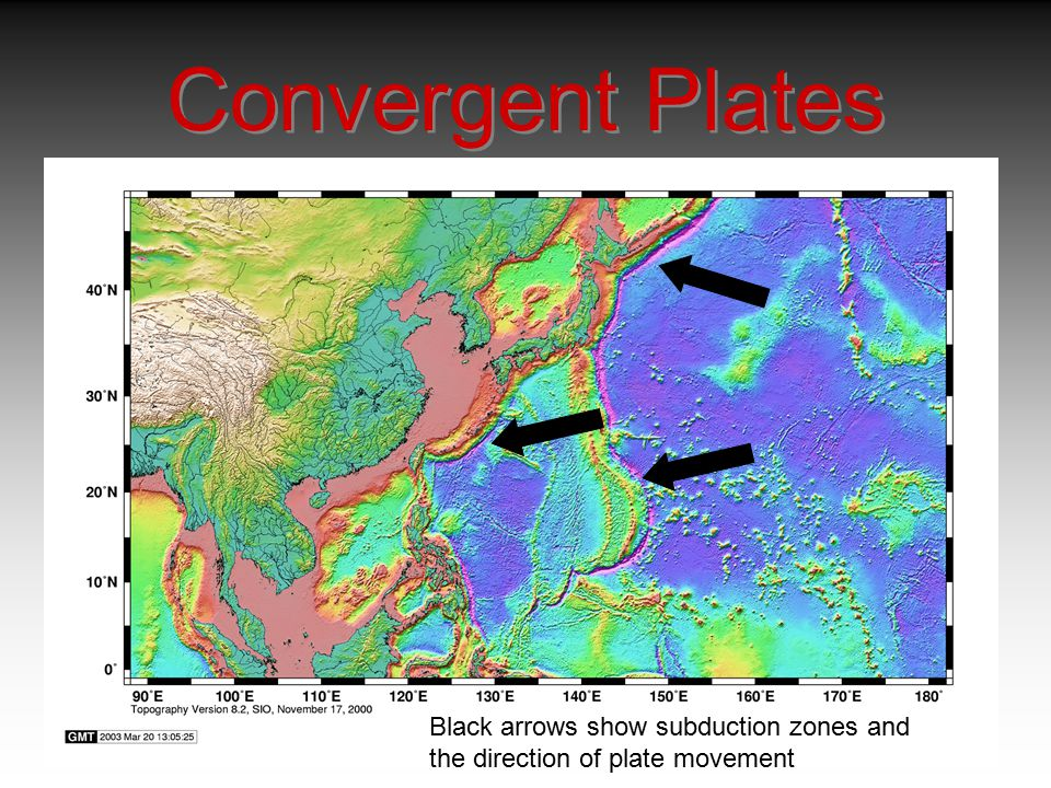 Convergent Plates Black arrows show subduction zones and