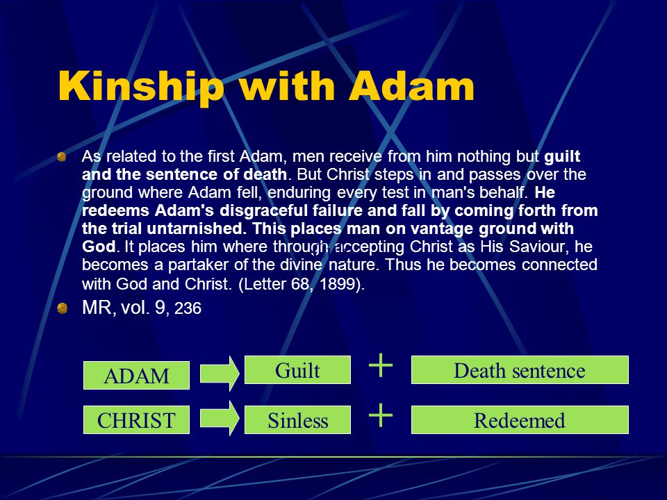 + + Kinship with Adam Culp Guilt Death sentence ADAM CHRIST Sinless