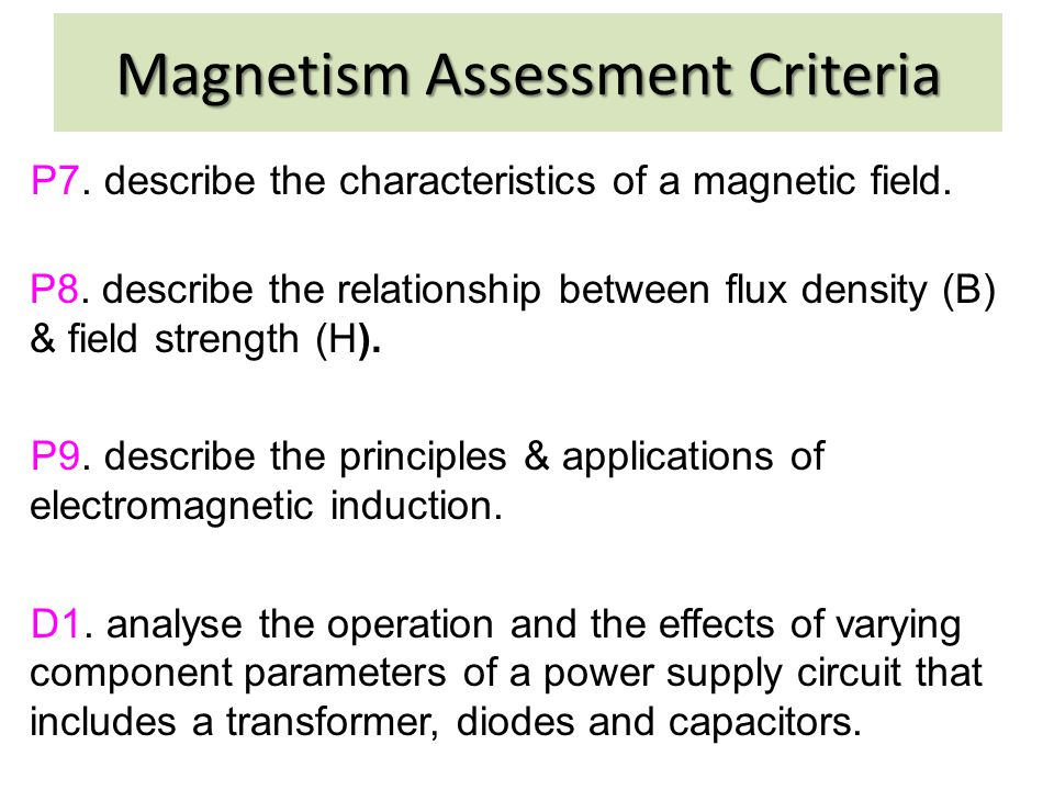 Magnetism Assessment Criteria