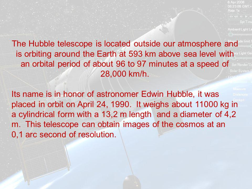 The Hubble telescope is located outside our atmosphere and is orbiting around the Earth at 593 km above sea level with an orbital period of about 96 to 97 minutes at a speed of 28,000 km/h.