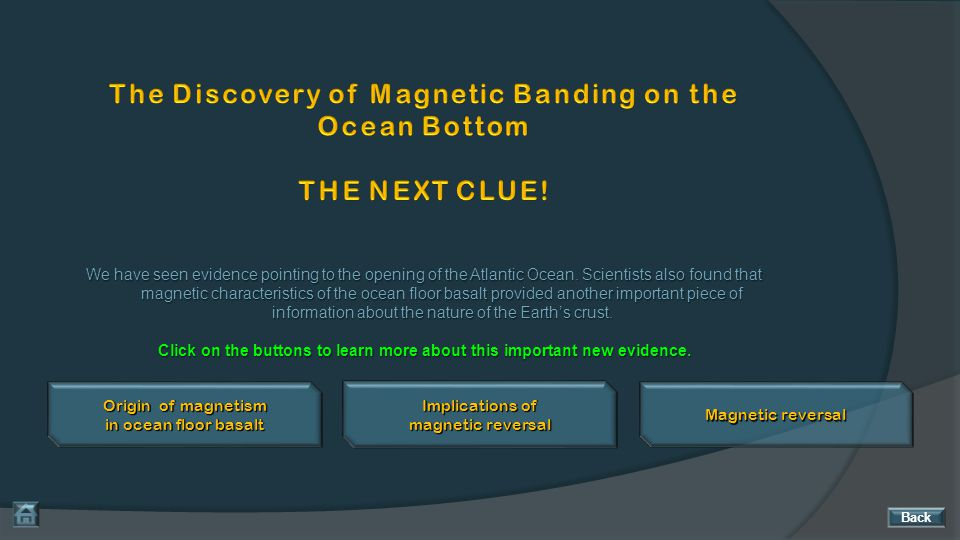 The Discovery of Magnetic Banding on the Ocean Bottom THE NEXT CLUE!
