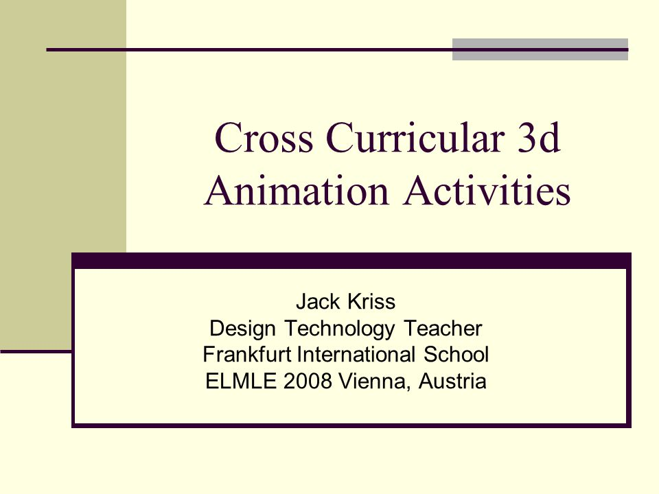 Cross Curricular 3d Animation Activities