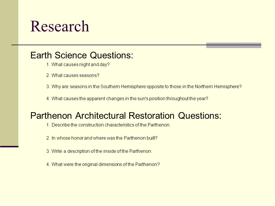 Research Earth Science Questions: