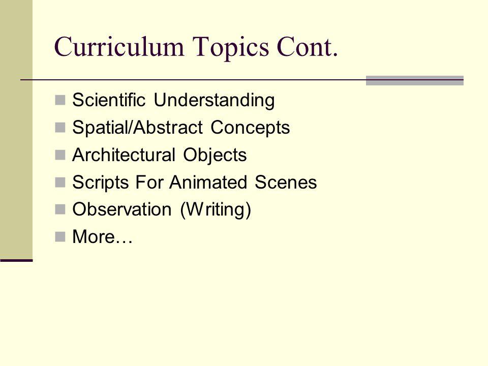 Curriculum Topics Cont.