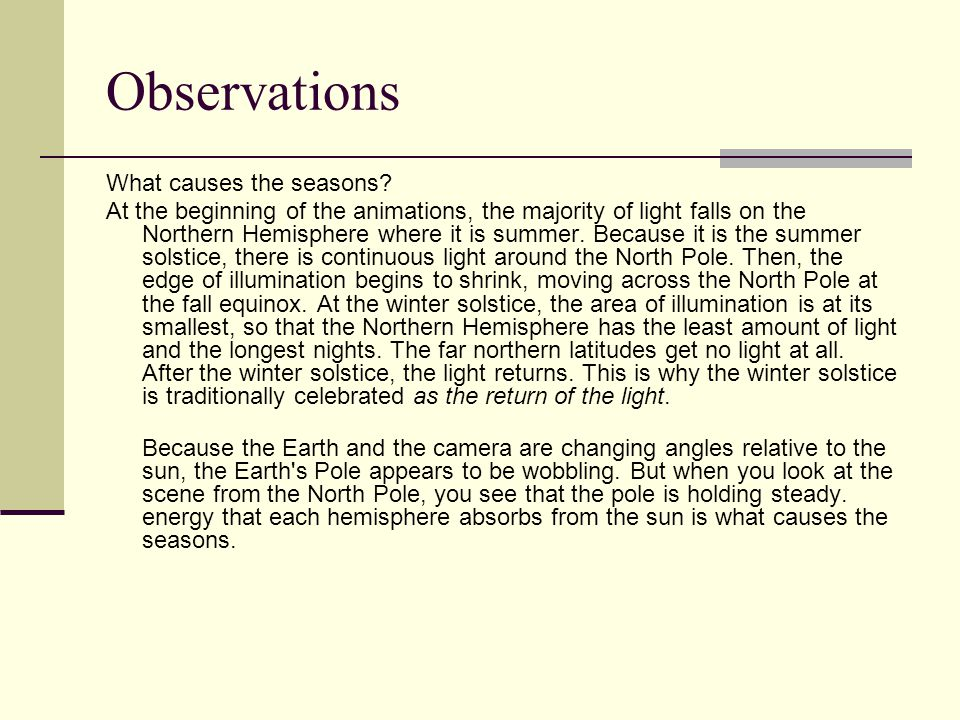 Observations What causes the seasons