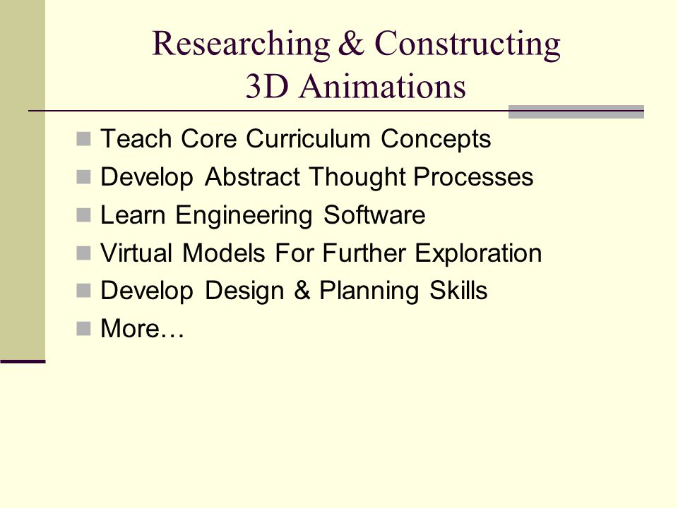 Researching & Constructing 3D Animations