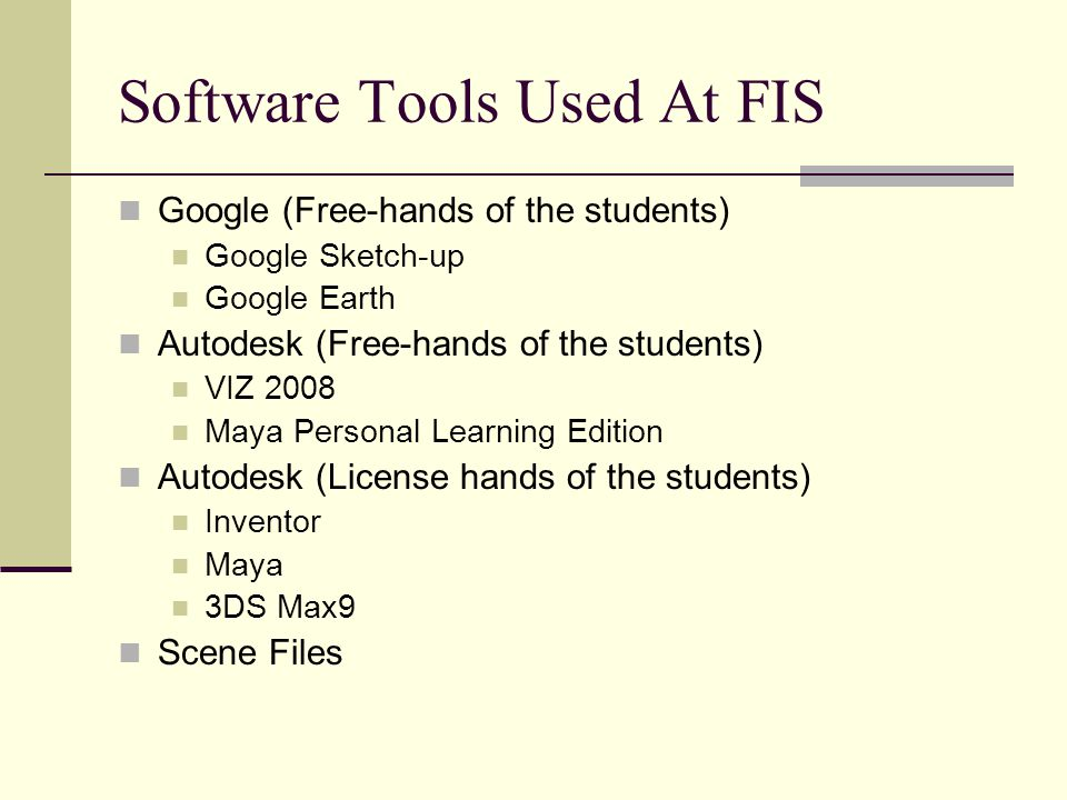Software Tools Used At FIS