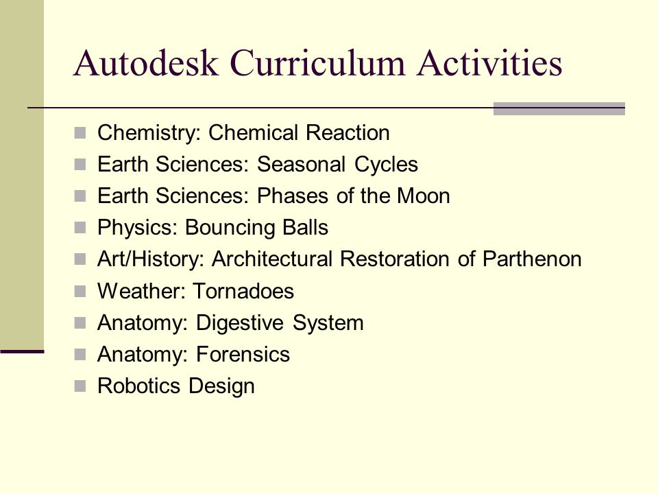 Autodesk Curriculum Activities