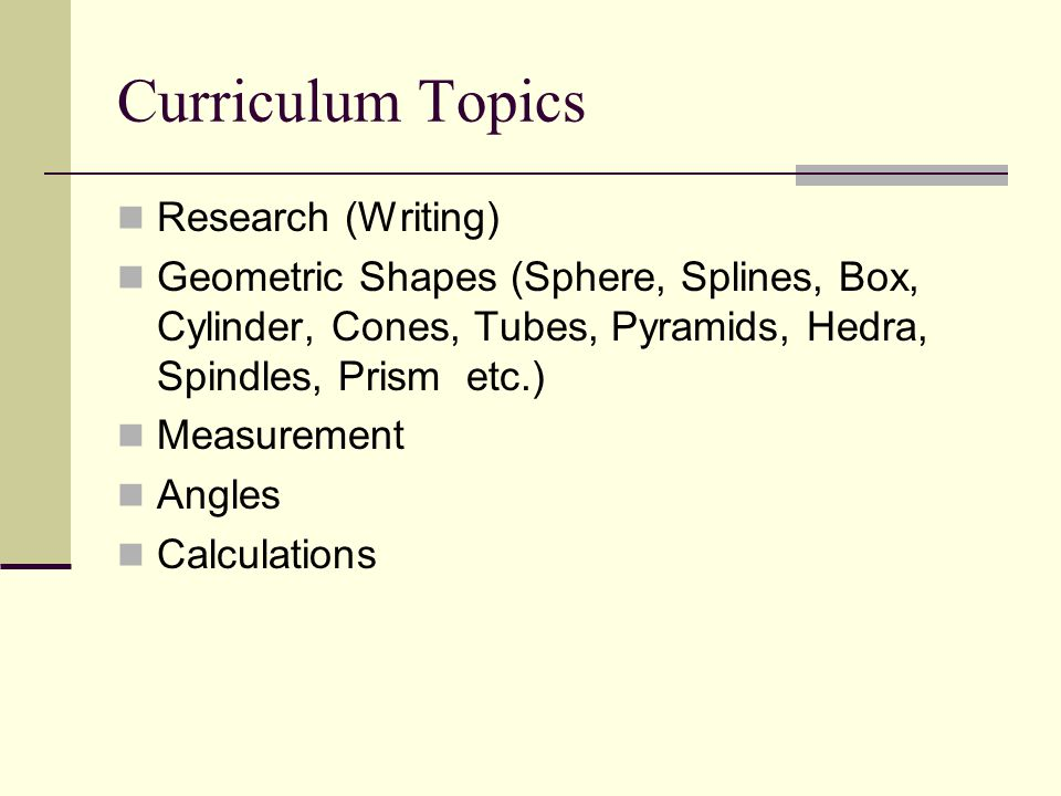 Curriculum Topics Research (Writing)
