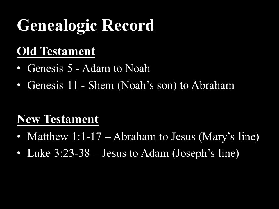 Genealogic Record Old Testament New Testament Genesis 5 - Adam to Noah