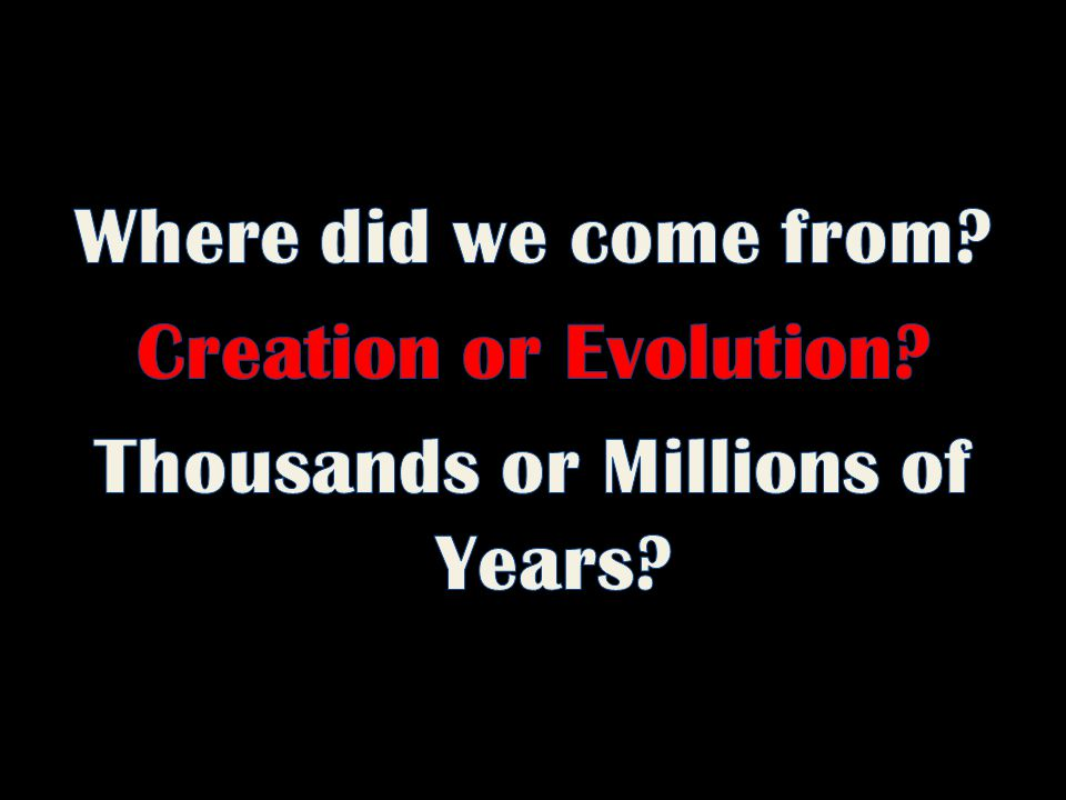 Where did we come from. Creation or Evolution