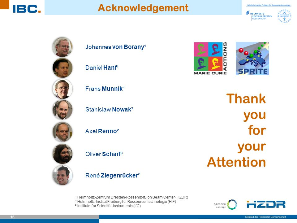 Thank you for your Attention Acknowledgement Johannes von Borany¹