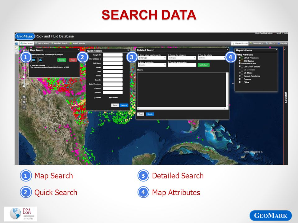 Search Data Map Search Detailed Search Quick Search Map Attributes 1 2