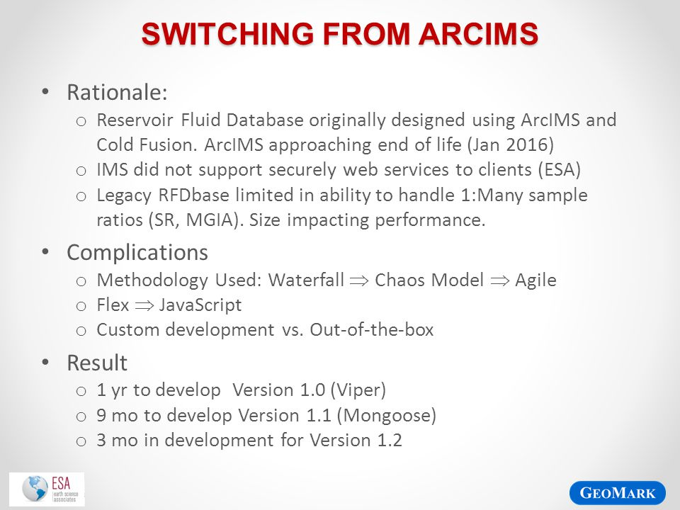 Switching from ARCIMS Rationale: Complications Result