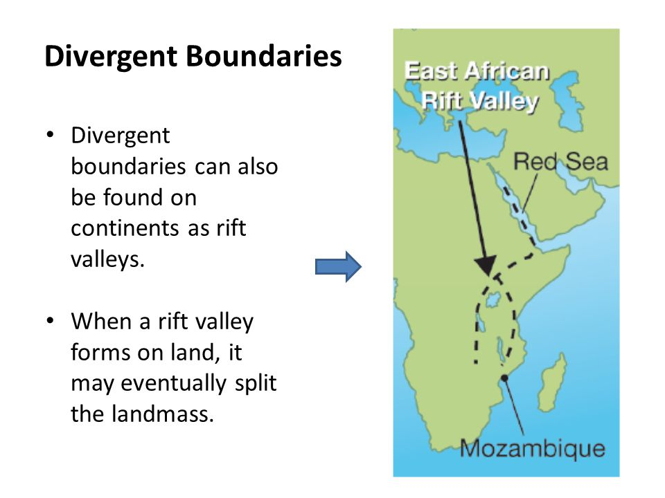 Divergent Boundaries Divergent boundaries can also be found on continents as rift valleys.