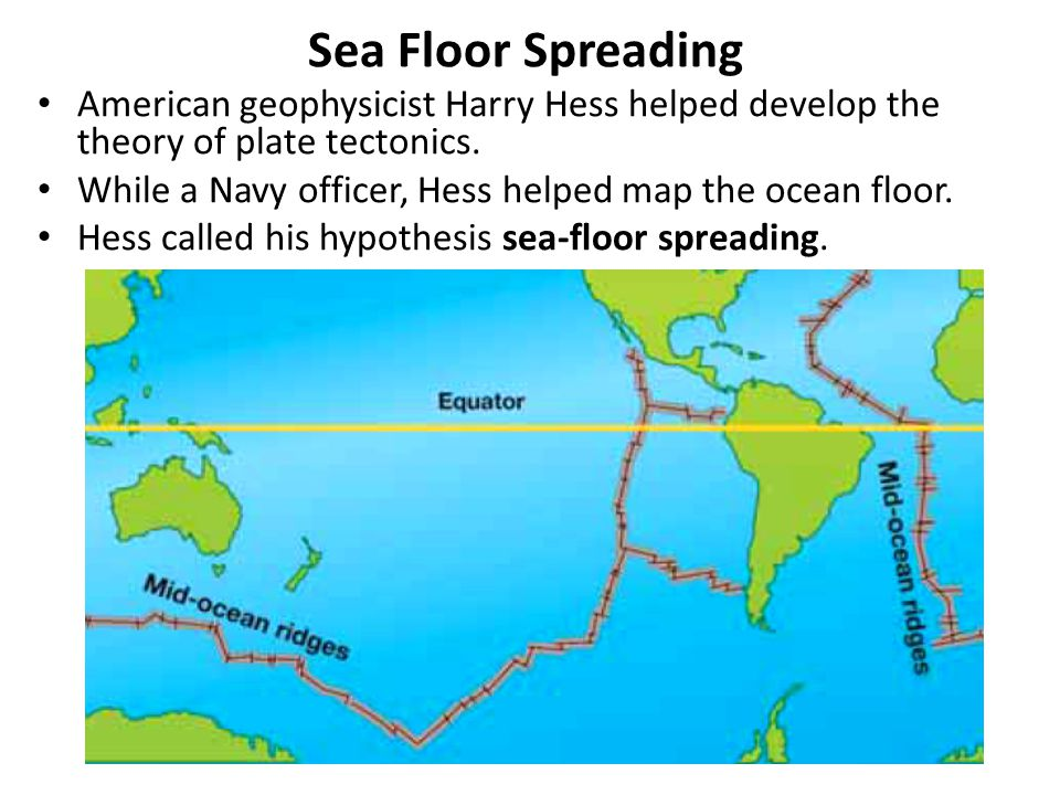 Sea Floor Spreading American geophysicist Harry Hess helped develop the theory of plate tectonics.