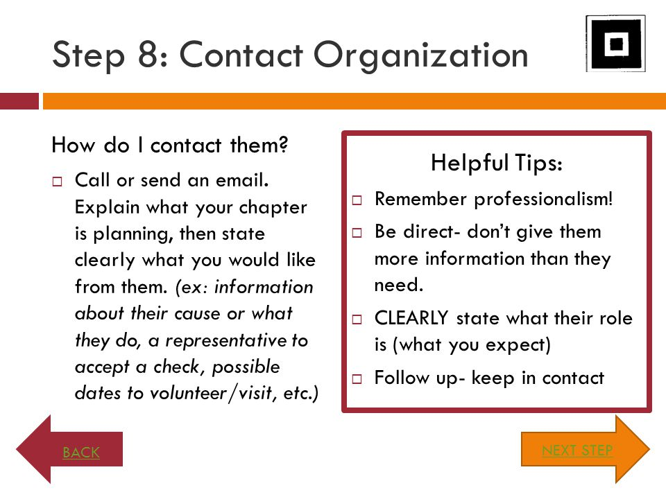 Step 8: Contact Organization