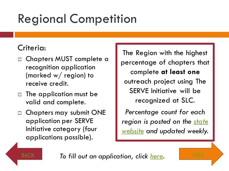 Regional Competition Criteria: